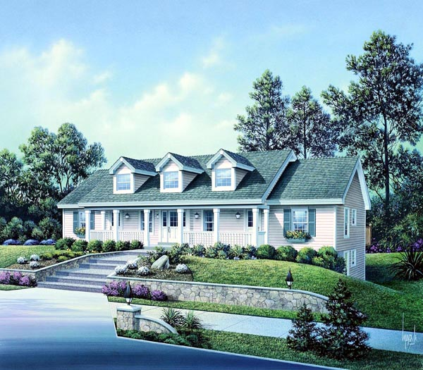 Cape Cod Country Ranch Multi-Family Plan 86977 Elevation