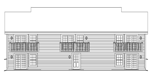 Cape Cod Country Ranch Multi-Family Plan 86977 Rear Elevation