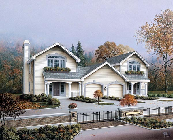 Country Ranch Traditional Multi-Family Plan 86979 Elevation