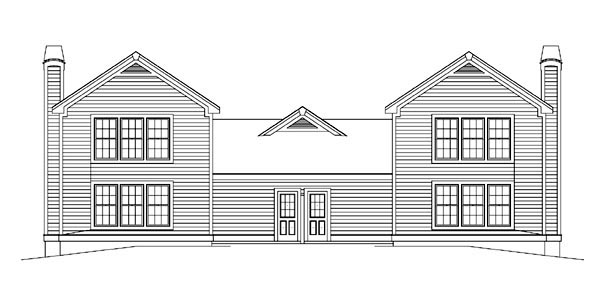 Country Ranch Traditional Multi-Family Plan 86979 Rear Elevation