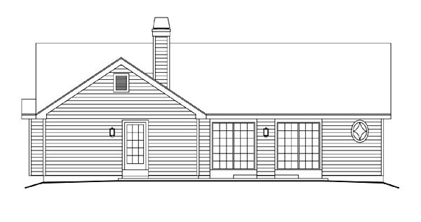 Country, Ranch, Traditional House Plan 86983 with 2 Beds, 2 Baths, 2 Car Garage Rear Elevation