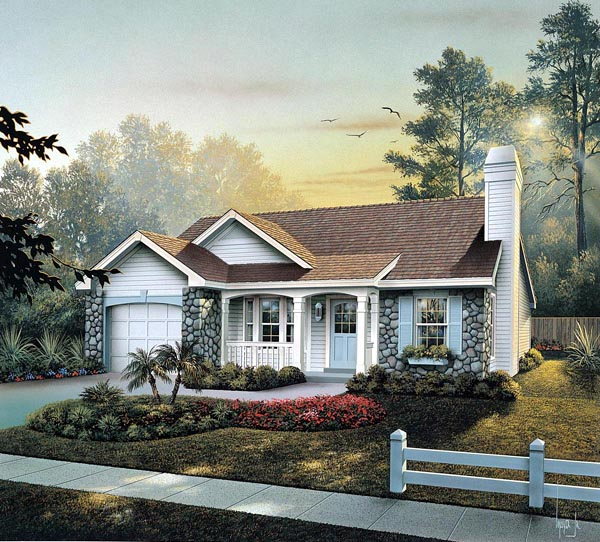 Cabin Cottage Country Ranch Traditional House Plan 86990 Elevation