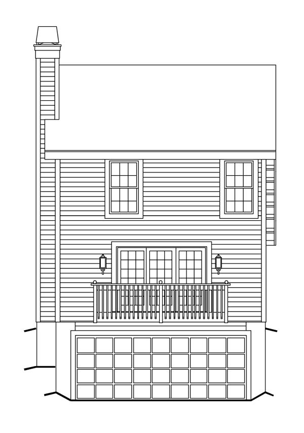 Cabin Cottage Traditional House Plan 86991 Rear Elevation