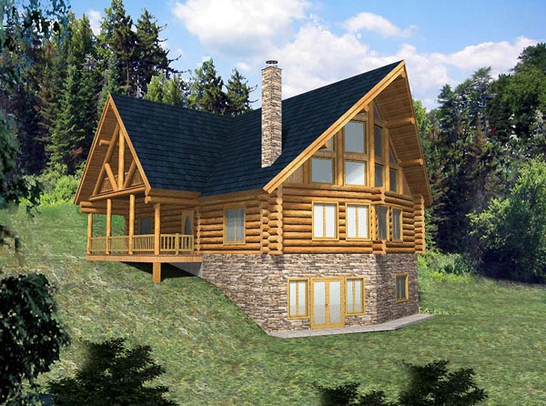 Contemporary, Log House Plan 87008 with 3 Beds, 2 Baths Elevation