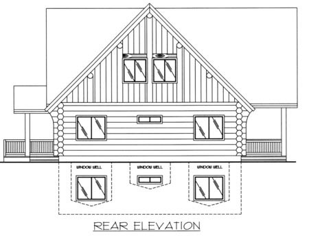 Contemporary, Log House Plan 87008 with 3 Beds, 2 Baths Rear Elevation