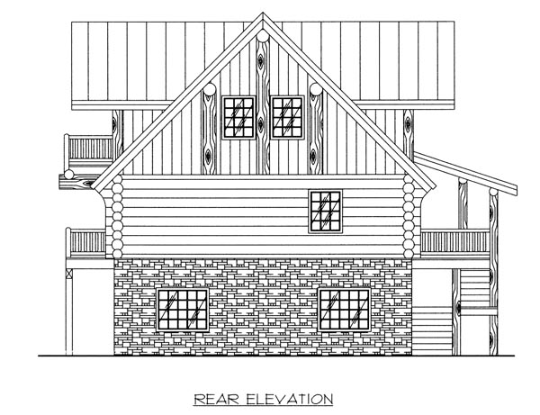 Log House Plan 87020 Rear Elevation