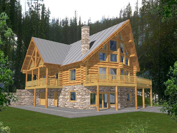 Contemporary, Log House Plan 87027 with 4 Beds, 3 Baths, 1 Car Garage Elevation