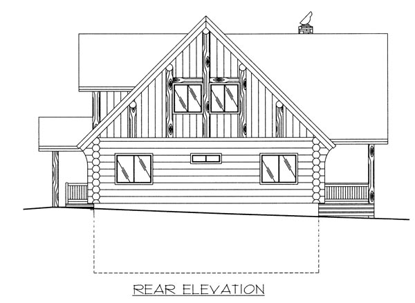 Contemporary, Log House Plan 87027 with 4 Beds, 3 Baths, 1 Car Garage Rear Elevation
