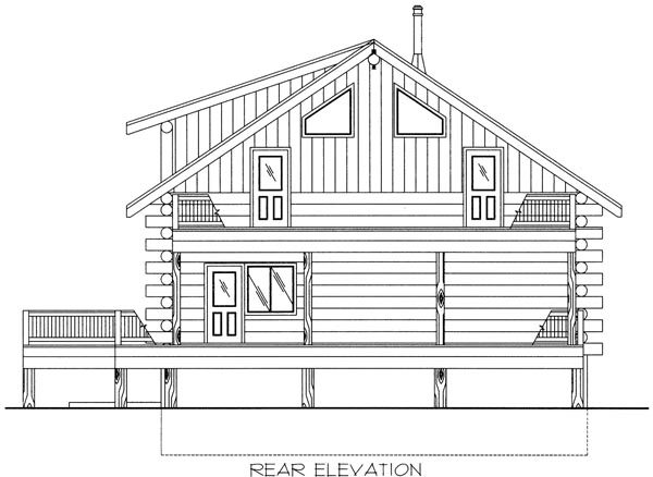 Log House Plan 87034 with 2 Beds, 3 Baths Rear Elevation