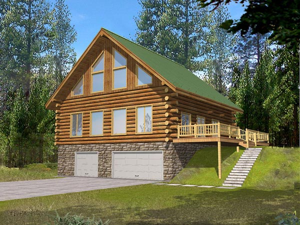 Contemporary Log House Plan 87040 Elevation