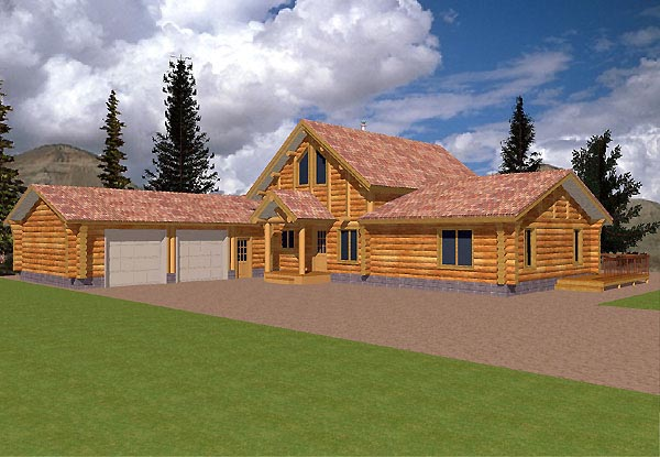 Contemporary Log House Plan 87058 Elevation