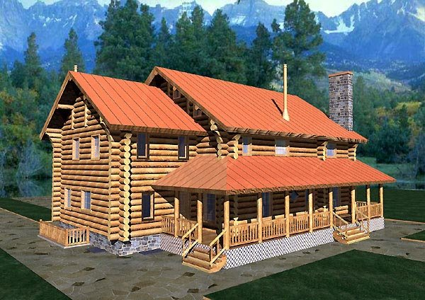 Log House Plan 87062 Elevation