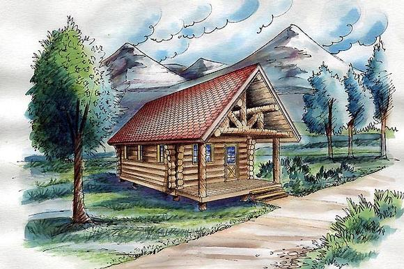 Cabin, Log House Plan 87063 with 1 Beds Elevation