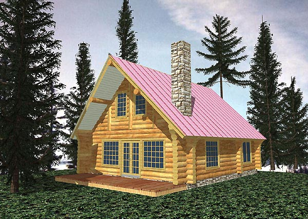 Log House Plan 87070 Elevation