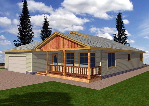 One-Story, Ranch House Plan 87084 with 3 Beds, 2 Baths, 2 Car Garage Elevation