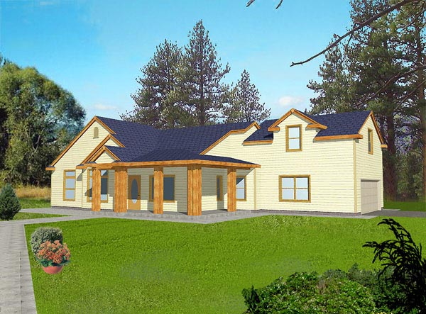Traditional House Plan 87086 with 3 Beds, 2 Baths, 2 Car Garage Elevation