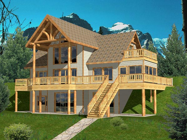 Hillside garage plans house plans home designs Vacation house plans sloped lot