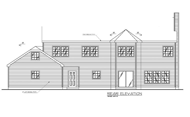 Country, Traditional House Plan 87137 with 6 Beds, 4 Baths, 2 Car Garage Rear Elevation