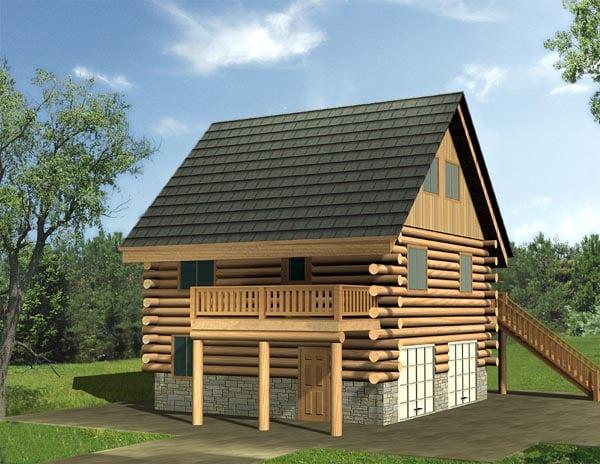 Log House Plan 87148 Elevation