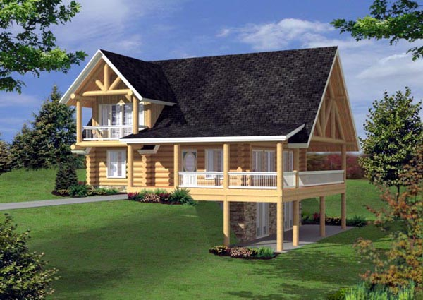 Log House Plan 87162 Elevation