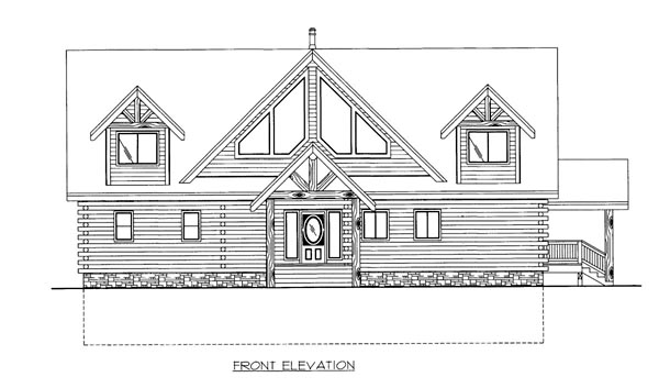 Log House Plan 87172 Elevation