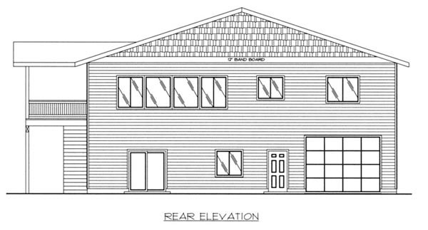 Traditional 3 Car Garage Apartment Plan 87186 with 3 Beds, 2 Baths, RV Storage Rear Elevation