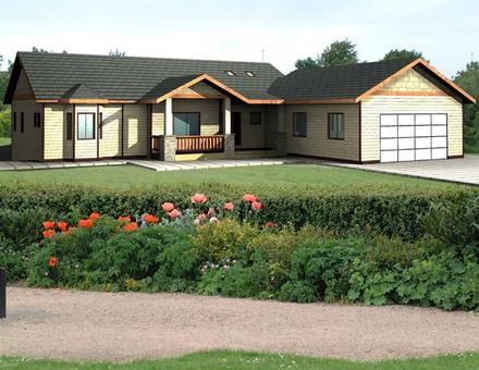 One-Story Ranch Elevation of Plan 87200