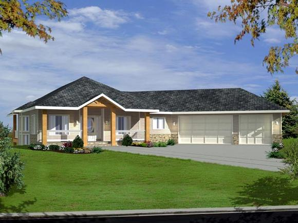One-Story, Traditional House Plan 87203 with 3 Beds, 4 Baths, 3 Car Garage Elevation