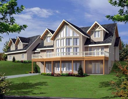 Contemporary Elevation of Plan 87204