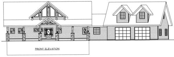 Contemporary Rear Elevation of Plan 87204