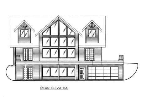 Rear Elevation of Plan 87205