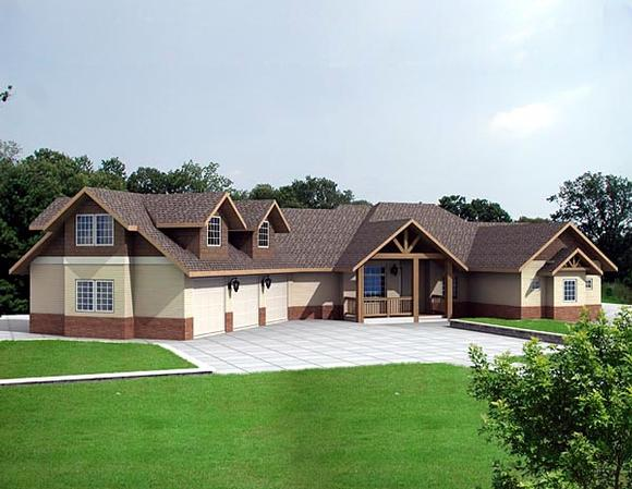 Ranch House Plan 87227 with 1 Beds, 2 Baths, 3 Car Garage Elevation