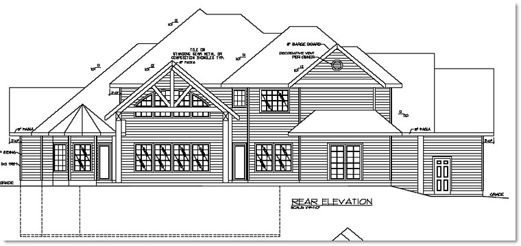 European Traditional House Plan 87238 Rear Elevation