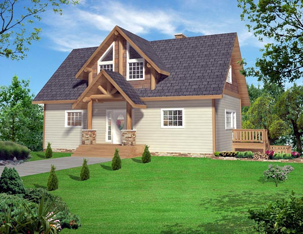 Cabin, Contemporary House Plan 87267 with 3 Beds, 4 Baths, 1 Car Garage Elevation