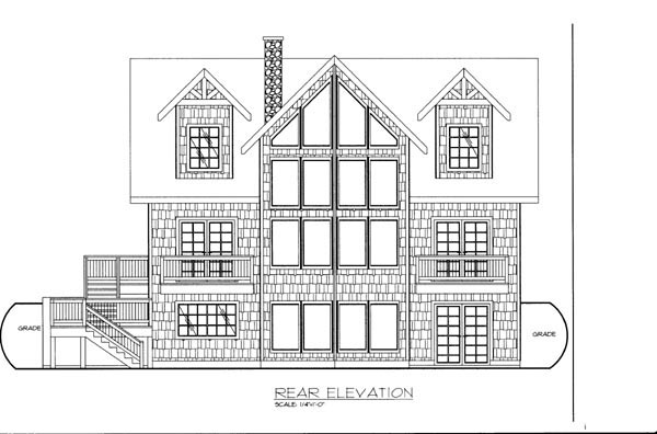 Cabin, Contemporary House Plan 87267 with 3 Beds, 4 Baths, 1 Car Garage Rear Elevation
