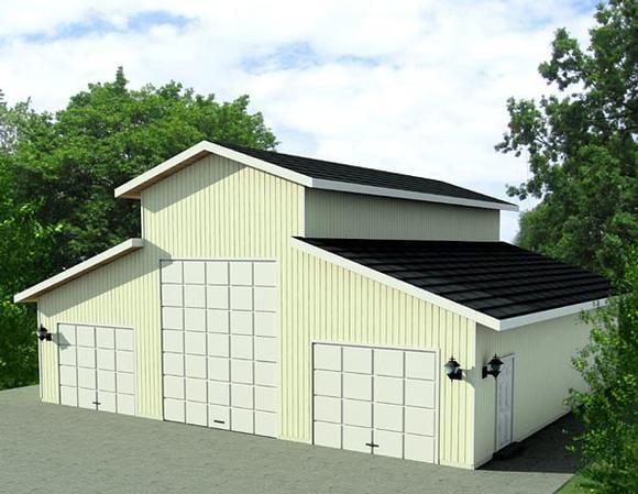 4 Car Garage Plan 87277, RV Storage Elevation
