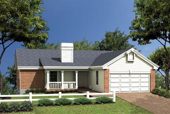 One-Story, Ranch House Plan 87344 with 4 Beds, 3 Baths, 2 Car Garage Elevation