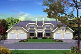 Mediterranean Multi-Family Plan 87349 with 12 Beds, 8 Baths, 4 Car Garage Elevation