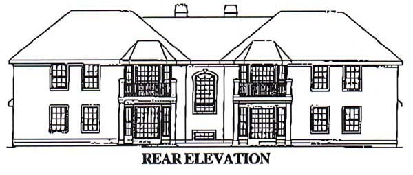 Mediterranean Multi-Family Plan 87349 with 12 Beds, 8 Baths, 4 Car Garage Rear Elevation