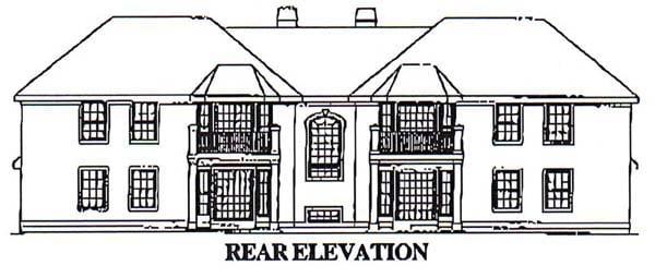 Mediterranean Multi-Family Plan 87349 Rear Elevation