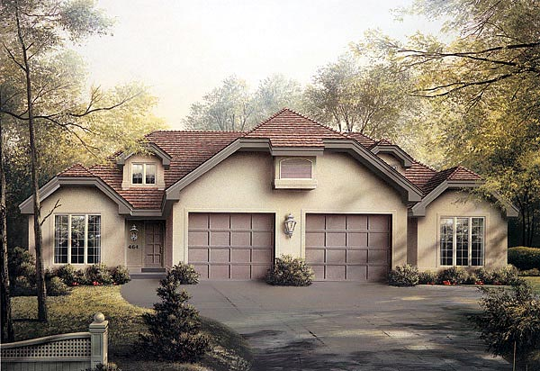 Multi family plan 87352 at for Duplex plans with garage in middle