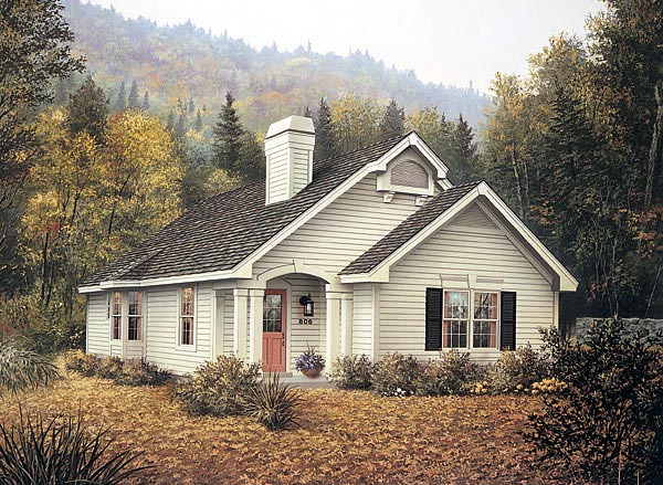 Country, Narrow Lot, One-Story House Plan 87389 with 4 Beds, 2 Baths Elevation