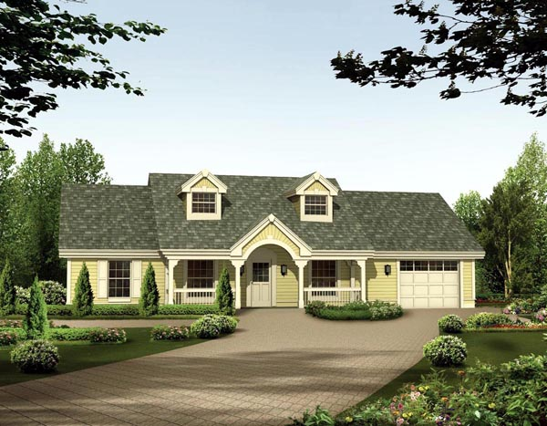 Cape Cod, Country, Ranch House Plan 87398 with 3 Beds, 2 Baths, 1 Car Garage Elevation
