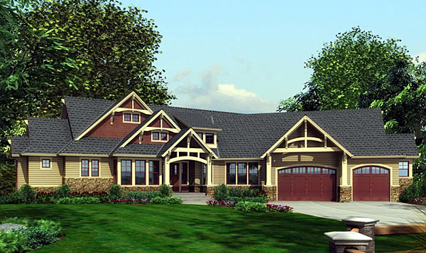 Elevation of Craftsman   House Plan 87400