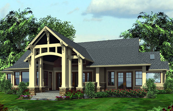 Rear Elevation of Craftsman   House Plan 87400