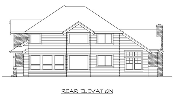 Rear Elevation of Craftsman   House Plan 87402