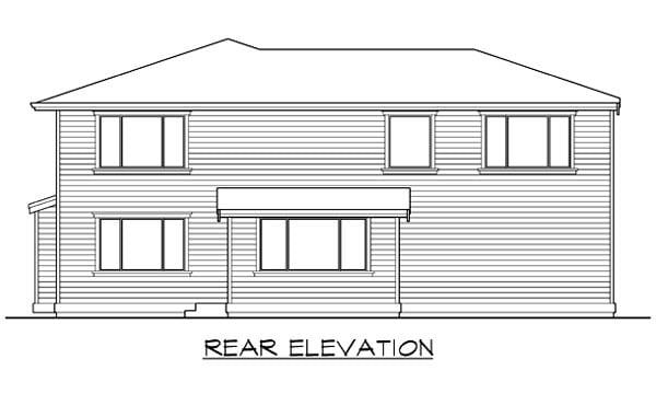 Prairie Style Southwest House Plan 87425 Rear Elevation