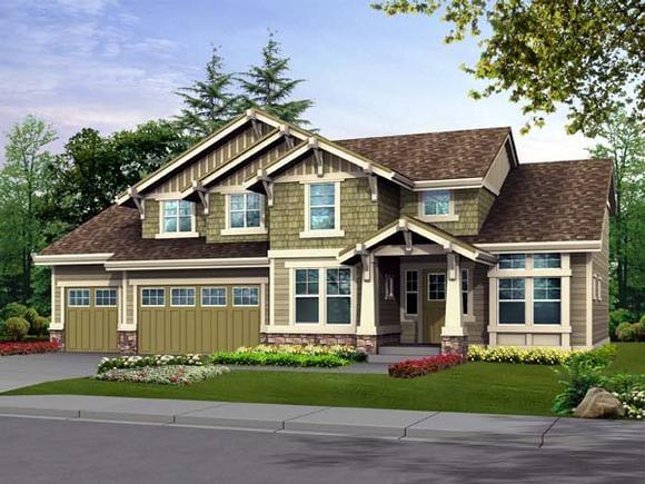 Craftsman House Plan 87432 with 3 Beds, 3 Baths, 2 Car Garage Elevation