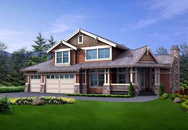 Country Craftsman House Plan 87467 Elevation