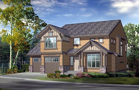 Craftsman House Plan 87501 with 3 Beds, 4 Baths, 2 Car Garage Elevation